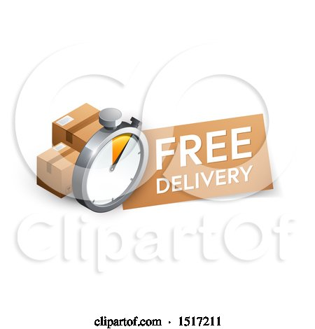 Clipart of a 3d Stopwatch, Boxes and Free Delivery Design - Royalty Free Vector Illustration by beboy