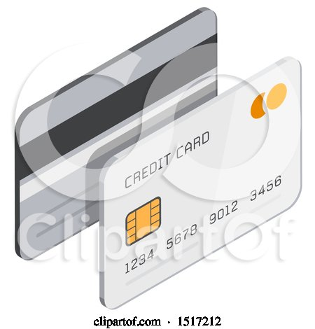 Clipart of a 3d Credit Card Icon - Royalty Free Vector Illustration by beboy