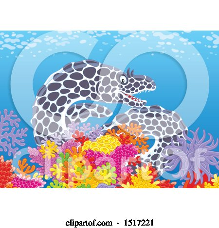 Clipart of a Moray Eel at a Coral Reef - Royalty Free Vector Illustration by Alex Bannykh