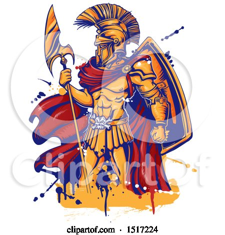 Clipart of a Spartan Warrior Holding a Spear, with Grunge - Royalty Free Vector Illustration by Domenico Condello