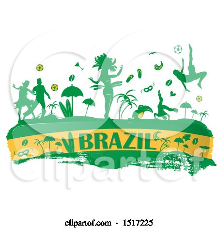 Clipart of a Brazilian Culture Banner in Flag Colors, with Silhouetted Icons - Royalty Free Vector Illustration by Domenico Condello
