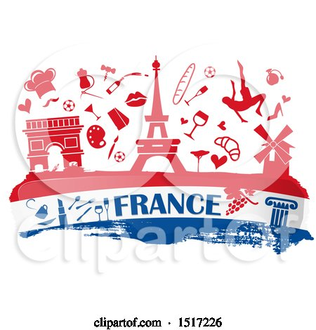 Clipart of a French Culture Banner in Flag Colors, with Silhouetted Icons - Royalty Free Vector Illustration by Domenico Condello