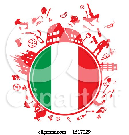 Clipart of an Italian Flag Globe and Culture Travel Icons - Royalty Free Vector Illustration by Domenico Condello