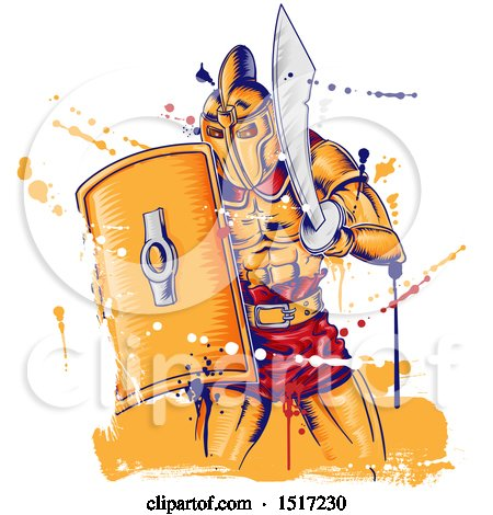Clipart of a Roman Gladiator Warrior Holding a Sword and Shield, with Grunge - Royalty Free Vector Illustration by Domenico Condello