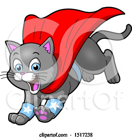 Clipart of a Gray Super Hero Kitty Leaping with a Cape - Royalty Free Vector Illustration by Clip Art Mascots