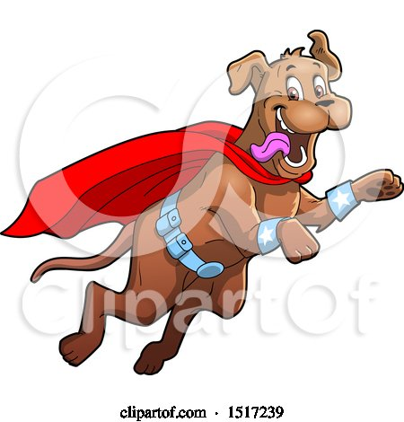 Clipart of a Happy Super Dog Flying to the Rescue - Royalty Free Vector Illustration by Clip Art Mascots