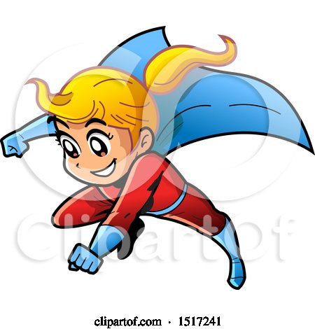 Clipart of a Blond Manga Super Girl Flying - Royalty Free Vector Illustration by Clip Art Mascots