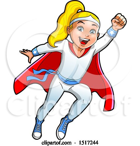 Clipart of a Blond Super Girl Flying - Royalty Free Vector Illustration by Clip Art Mascots