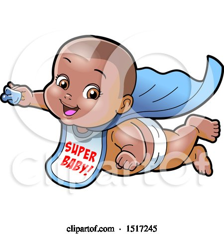 Clipart of a Black Super Hero Baby Wearing a Bib and Flying with a Pacifier in Hand - Royalty Free Vector Illustration by Clip Art Mascots