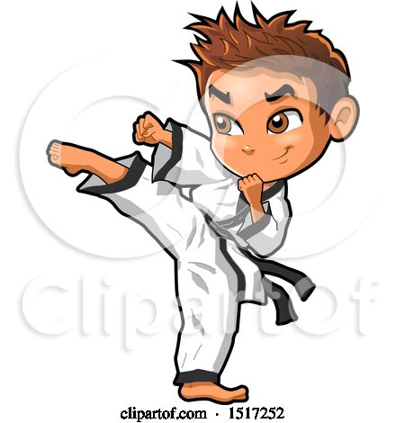 Clipart of a Karate Boy Kicking - Royalty Free Vector Illustration by Clip Art Mascots