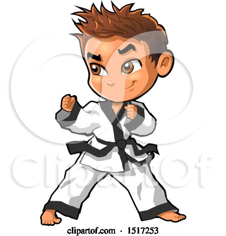 Clipart of a Karate Boy in a Fighting Stance - Royalty Free Vector Illustration by Clip Art Mascots