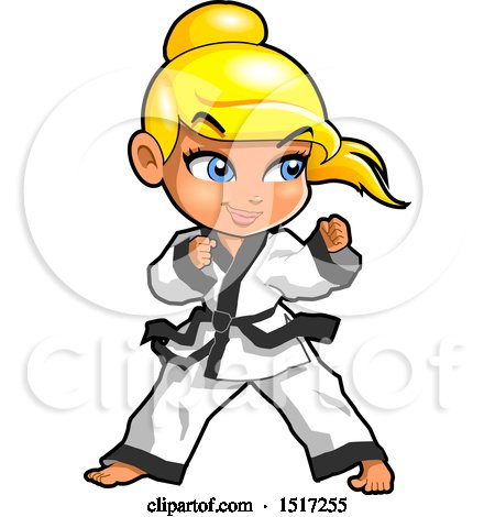 Clipart of a Blond Karate Girl in a Fighting Stance - Royalty Free Vector Illustration by Clip Art Mascots