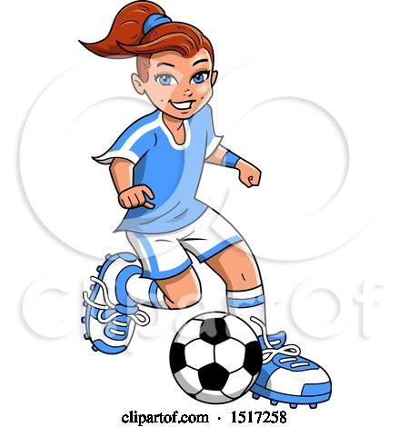 Clipart of a Girl Playing Soccer - Royalty Free Vector Illustration by Clip Art Mascots