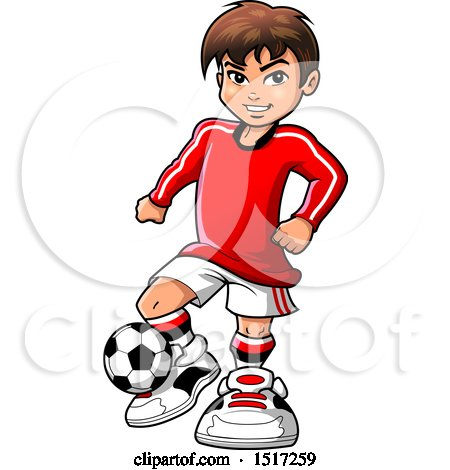 Clipart of a Boy Playing Soccer - Royalty Free Vector Illustration by Clip Art Mascots