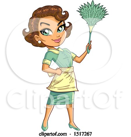 Clipart of a Green Eyed Brunette Maid Holding up a Feather Duster - Royalty Free Vector Illustration by Clip Art Mascots