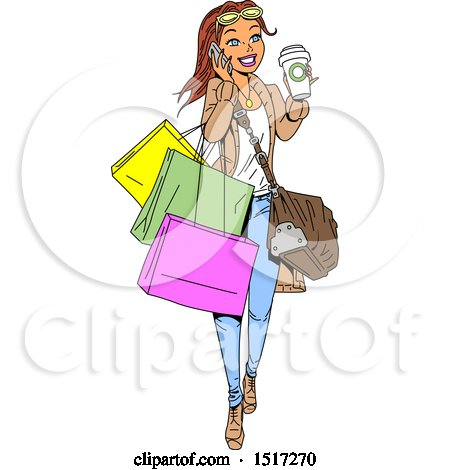 Clipart of a Cartoon White Woman Holding a Coffee and Talking on a Phone While Carrying Shopping Bags - Royalty Free Vector Illustration by Clip Art Mascots
