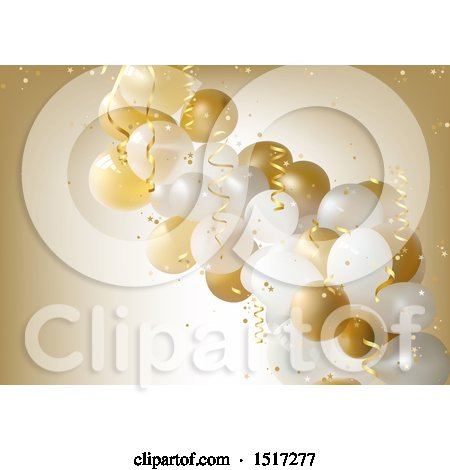 Clipart of a Golden Retirement, Birthday or Anniversary Party Background with Balloons and Ribbons - Royalty Free Vector Illustration by dero