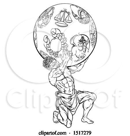 Clipart of a Greek Mythology Titan, Atlas, Holding up a Globe with Zodiac Star Signs - Royalty Free Vector Illustration by AtStockIllustration