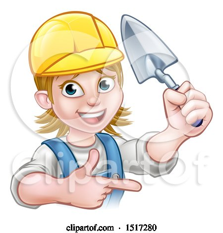 Clipart of a Female Mason Holding a Trowel and Pointing - Royalty Free Vector Illustration by AtStockIllustration