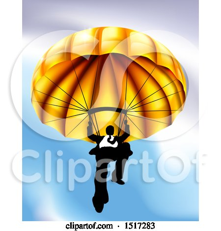 Clipart of a Business Man Parachuting Against a Blue Sky - Royalty Free Vector Illustration by AtStockIllustration