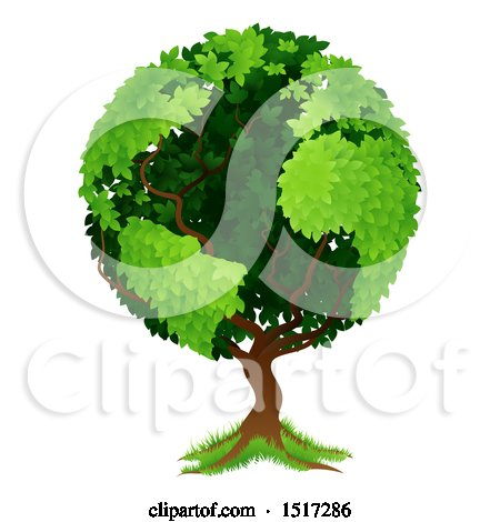 Clipart of a Globe Tree with Continents - Royalty Free Vector Illustration by AtStockIllustration