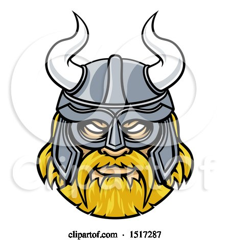 Clipart of a Tough Blond Male Viking Warrior Face Wearing a Horned Helmet - Royalty Free Vector Illustration by AtStockIllustration