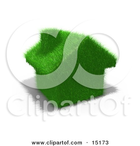 Environmentally Friendly Home Made Of Green Fuzzy Grass Clipart Illustration by 3poD