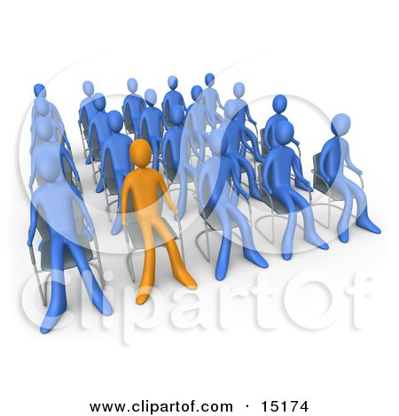 Orange Person Standing Out In A Crowd Of Blue People Seated In Chairs During A Staff Meeting Posters, Art Prints