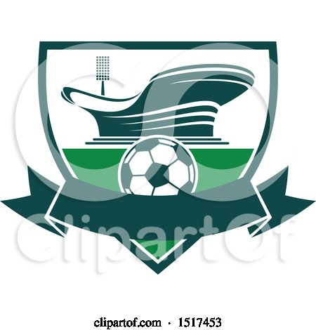Clipart of a Green and White Soccer Stadium Design - Royalty Free Vector Illustration by Vector Tradition SM