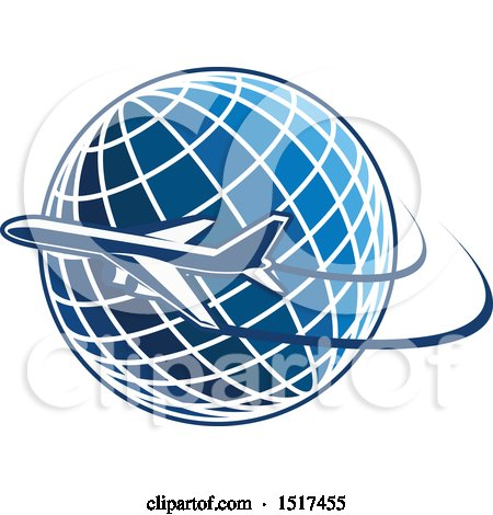Clipart of a Blue Globe with a Plane and Flight Path - Royalty Free Vector Illustration by Vector Tradition SM
