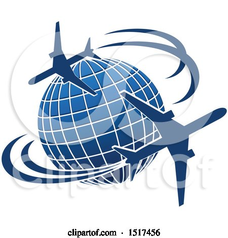 Clipart of a Blue Globe with Planes and Flight Paths - Royalty Free Vector Illustration by Vector Tradition SM