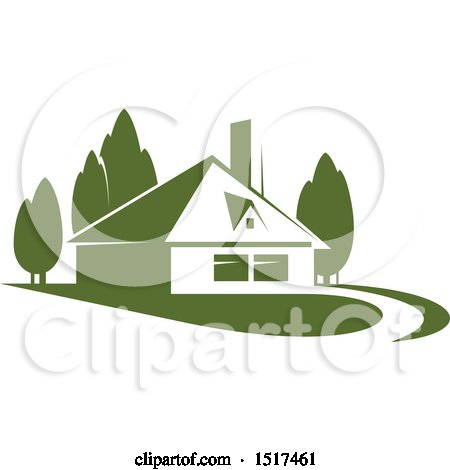Clipart of a Green Home Residence - Royalty Free Vector Illustration by Vector Tradition SM