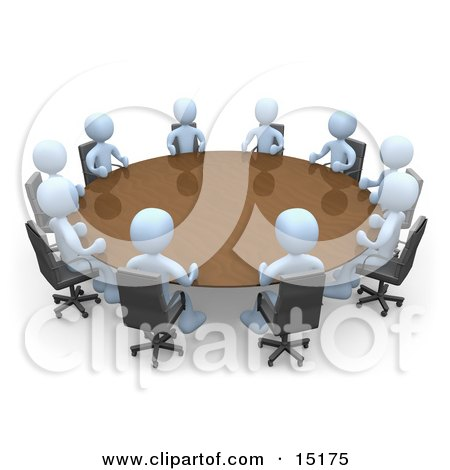 Group Of Light Blue People Holding A Meeting At A Large Conference Table In An Office  Posters, Art Prints