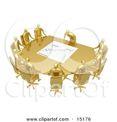 Group Of Gold People Seated And Holding A Meeting At A Golden Conference Table While The Boss Reviews A Financial Chart Clipart Illustration Image by 3poD