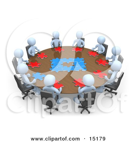 Group Of Light Blue People Holding A Meeting And Trying To Solve A Jigsaw Around A Large Rectangular Conference Table In An Office  Posters, Art Prints