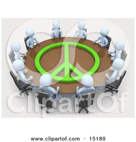 Group Of Light Blue People Holding A Meeting At A Large Rectangular Conference Table With A Green Peace Symbol On It In An Office  Posters, Art Prints