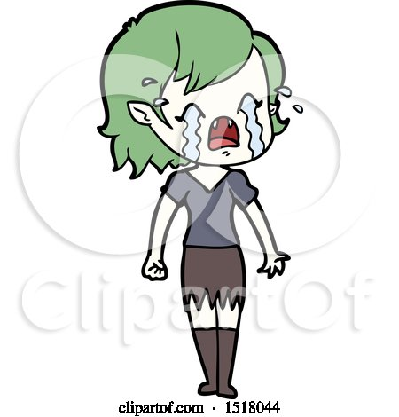 Cartoon Crying Vampire Girl by lineartestpilot