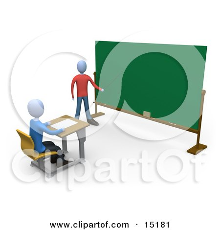Blue Teacher Standing In Front Of A Blank Chalkboard And Using A Pointer Stick While Teaching A Single Student Clipart Illustration Image by 3poD