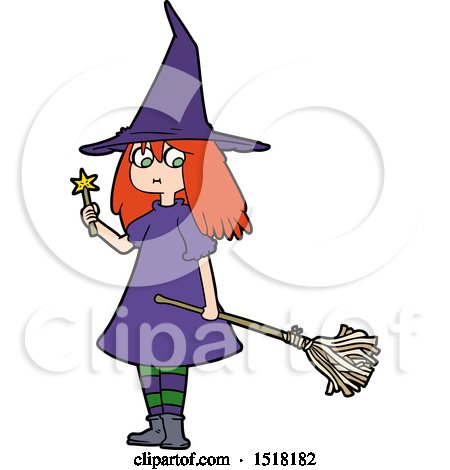 Cartoon Witch Girl with Broom by lineartestpilot
