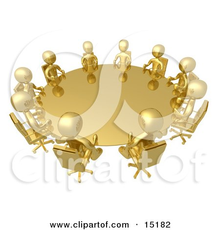 Group Of Gold People Seated And Holding A Meeting At A Round Golden Conference Table  Posters, Art Prints