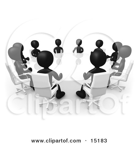 table clipart black and white. group of black figured people seated and holding a meeting around white reflective conference table by 3pod clipart
