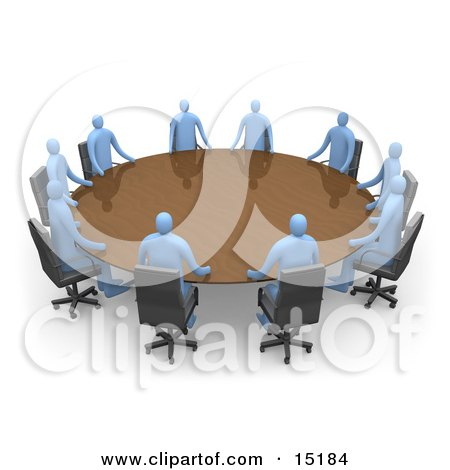 Group Of Blue People Seated And Holding A Meeting At A Large Golden Conference Table  Posters, Art Prints