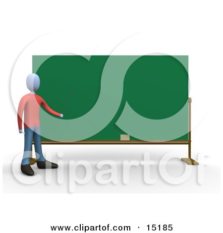 Blue Teacher Standing In Front Of A Blank Chalkboard And Pointing Clipart Illustration Image by 3poD