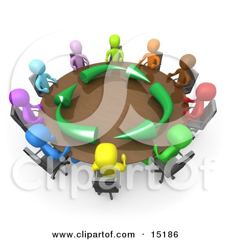 Group Of A Diverse And Colorful Group Of People Seated And Holding A Meeting About Running An Environmentally Friendly Company Around A Round Conference Table  Posters, Art Prints