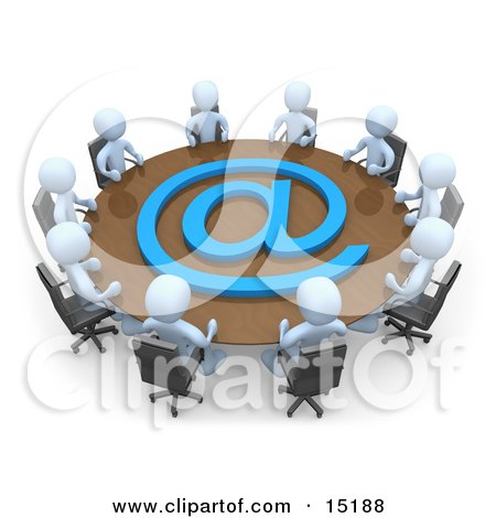 Group Of Light Blue People Holding A Meeting About Communications At A Large Conference Table With A Blue At Symbol In An Office Clipart Illustration Image by 3poD