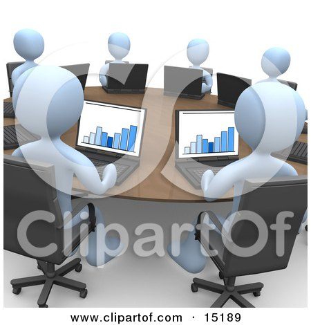 Group Of Blue Students Or Employees In A Training Class, Using Laptop Computers To View Charts And Graphs While Seated Around A Conference Table Clipart Illustration Image by 3poD