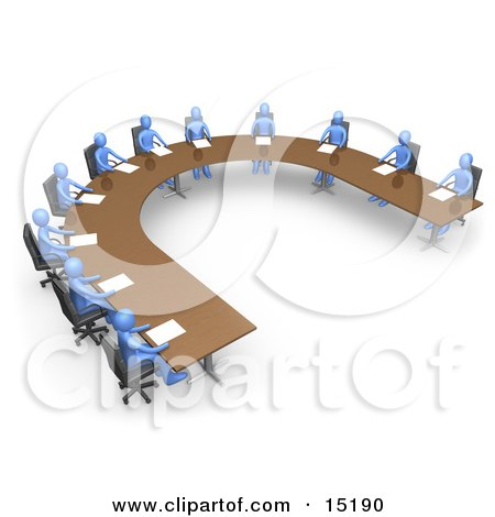 Group Of Blue People Seated And Holding A Meeting At A Large U Shaped Conference Table Clipart Illustration Image by 3poD