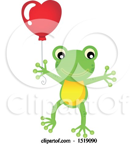 Clipart of a Valentine Frog Holding a Heart Balloon - Royalty Free Vector Illustration by visekart