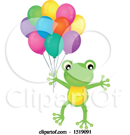 Clipart of a Frog Holding Party Balloons - Royalty Free Vector Illustration by visekart