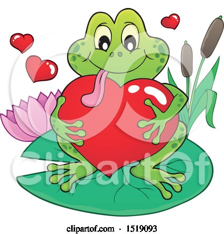 Clipart of a Valentine Frog Hugging a Heart on a Lily Pad - Royalty Free Vector Illustration by visekart